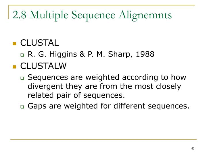 2.8 Multiple Sequence Alignemnts