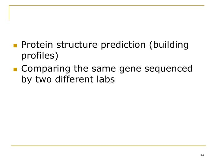 Protein structure prediction (building profiles)