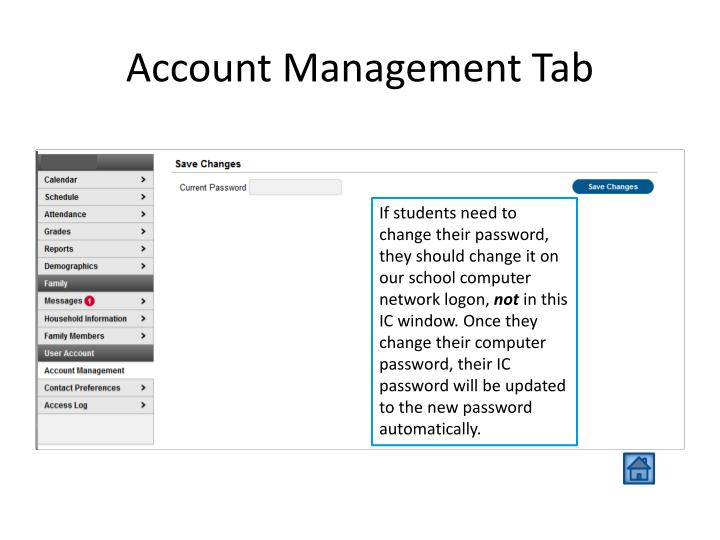 Account Management Tab