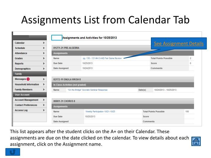 Assignments List from Calendar