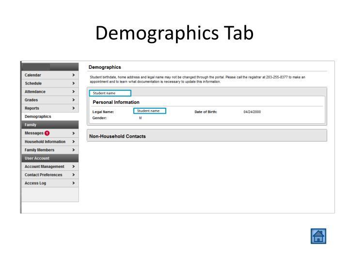 Demographics Tab