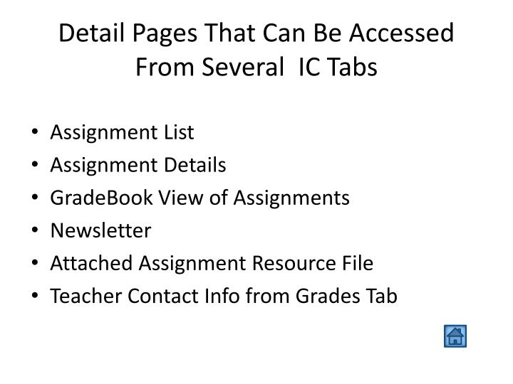Detail Pages That Can Be Accessed From Several  IC Tabs