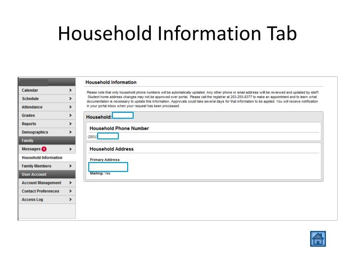 Household Information Tab