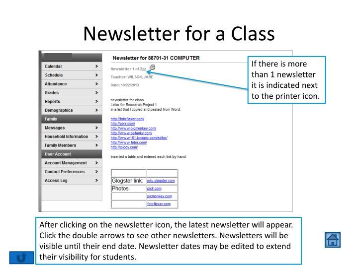 Newsletter for a Class