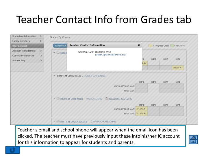 Teacher Contact Info from Grades tab
