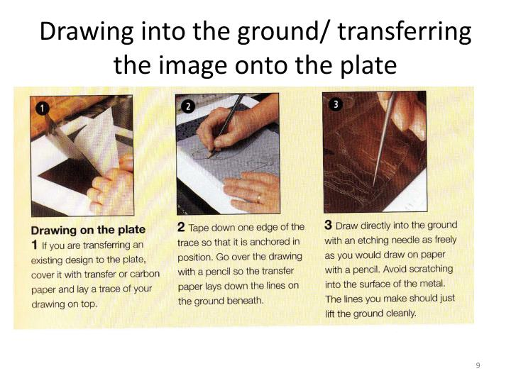 Drawing into the ground/ transferring the image onto the plate