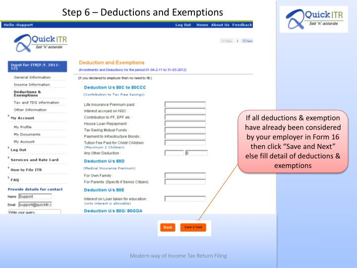 Step 6 – Deductions and Exemptions