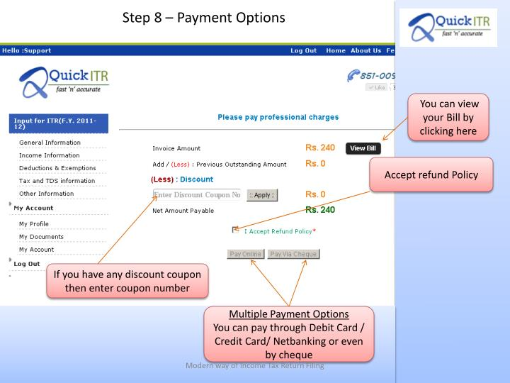 Step 8 – Payment Options