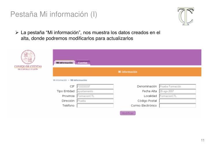 Pestaña Mi información (I)