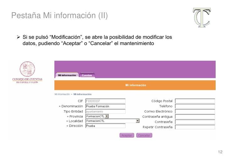 Pestaña Mi información (II)