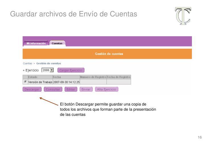 Guardar archivos de Envío de Cuentas