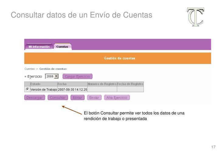Consultar datos de un Envío de Cuentas