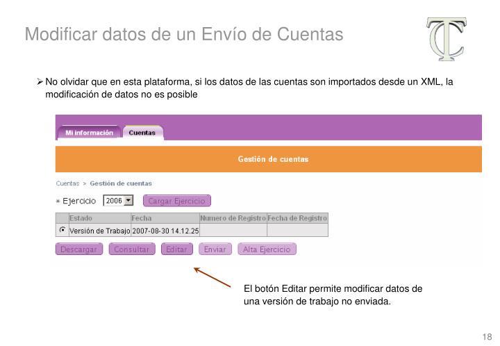 Modificar datos de un Envío de Cuentas
