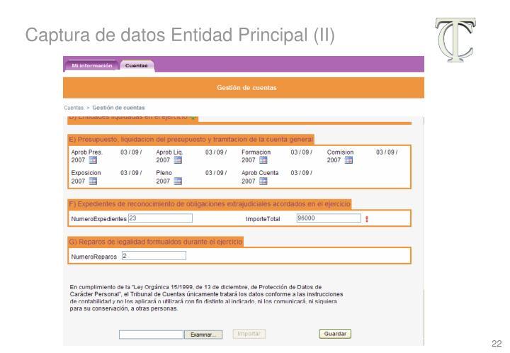 Captura de datos Entidad Principal (II)
