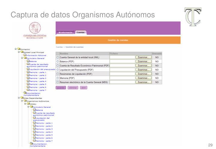 Captura de datos Organismos Autónomos