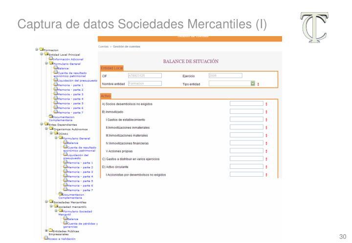 Captura de datos Sociedades Mercantiles (I)