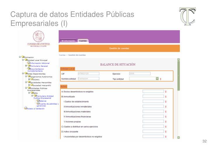 Captura de datos Entidades Públicas Empresariales (I)