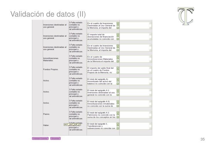 Validación de datos (II)