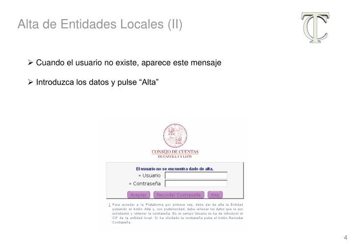 Alta de Entidades Locales (II)