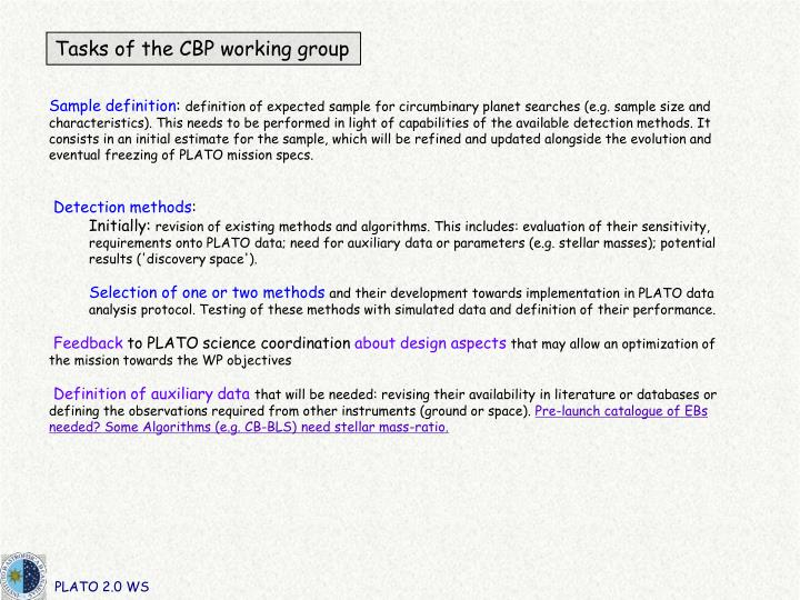 Tasks of the CBP working group