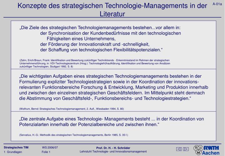 """""""Die Ziele des strategischen Technologiemanagements bestehen...vor allem in:"""