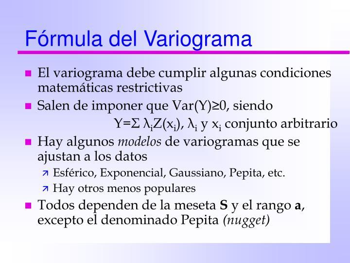 Fórmula del Variograma