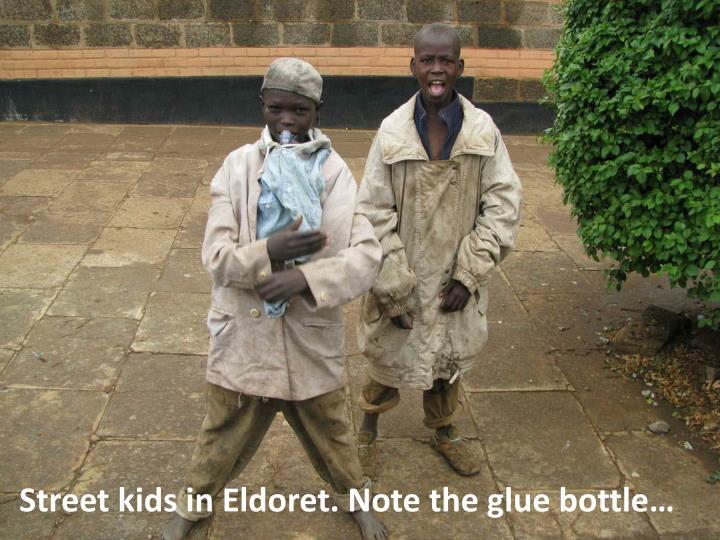 Street kids in Eldoret. Note the glue bottle…