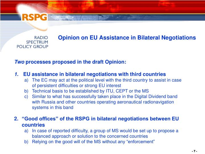 Opinion on EU Assistance in Bilateral Negotiations