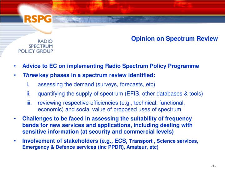 Advice to EC on implementing Radio Spectrum Policy Programme