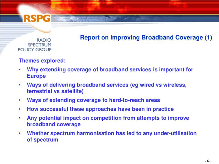 Report on Improving Broadband Coverage (1)