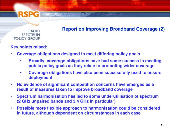 Report on Improving Broadband Coverage (2)