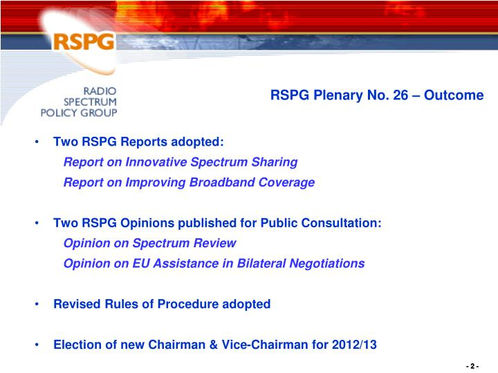 Rspg plenary no 26 outcome