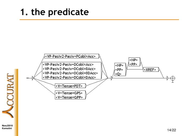1. the predicate