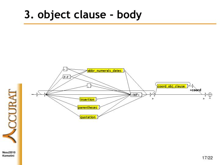 3. object clause - body