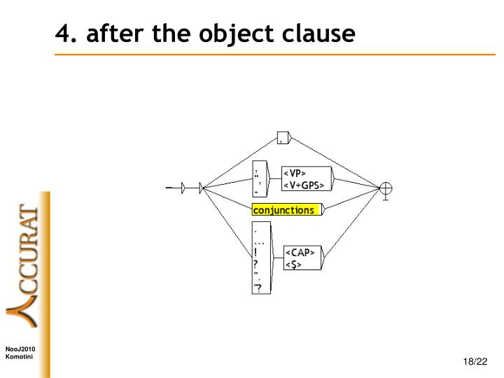 4. after the object clause