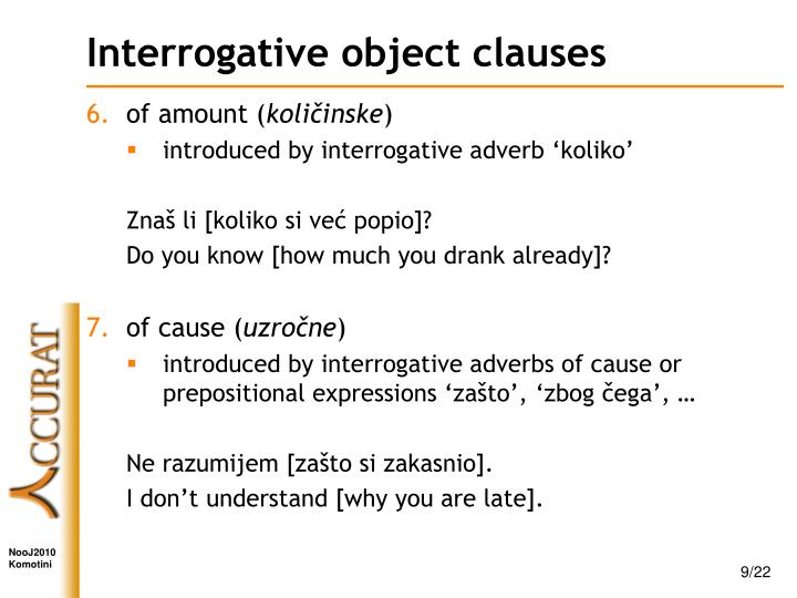 Interrogative object clauses