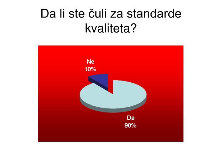 Da li ste čuli za standarde kvaliteta?
