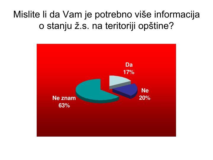 Mislite li da Vam je potrebno više informacija o stanju ž.s. na teritoriji opštine?