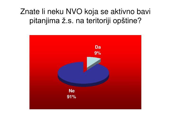 Znate li neku NVO koja se aktivno bavi pitanjima ž.s.