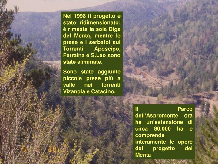 Nel 1998 il progetto è stato ridimensionato: è rimasta la sola Diga del Menta, mentre le prese e i serbatoi sui Torrenti Aposcipo, Ferraina e S.Leo sono state eliminate.