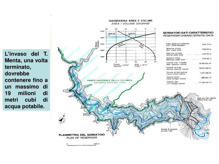L'invaso del T. Menta, una volta terminato, dovrebbe contenere fino a un massimo di 19 milioni di metri cubi di acqua potabile.