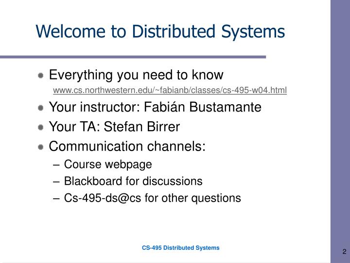 Welcome to distributed systems1