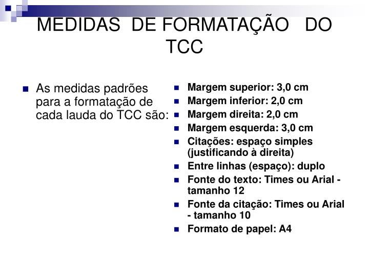MEDIDAS  DE FORMATAÇÃO   DO TCC