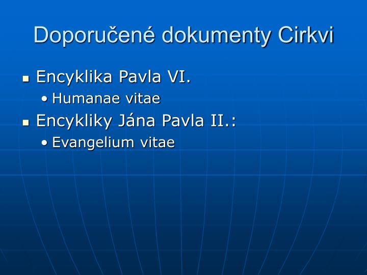 Doporučené dokumenty Cirkvi