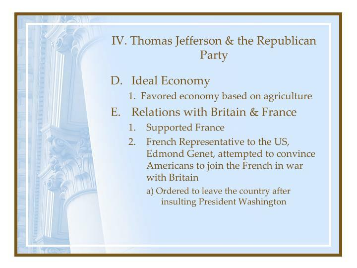 IV. Thomas Jefferson & the Republican Party