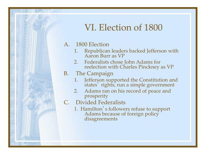 VI. Election of 1800