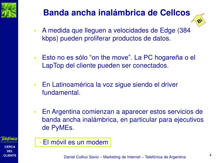 Banda ancha inalámbrica de Cellcos
