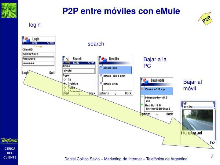 P2P entre móviles con eMule