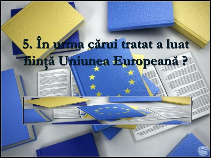 5. În urma cărui tratat a luat fiinţă Uniunea Europeană ?