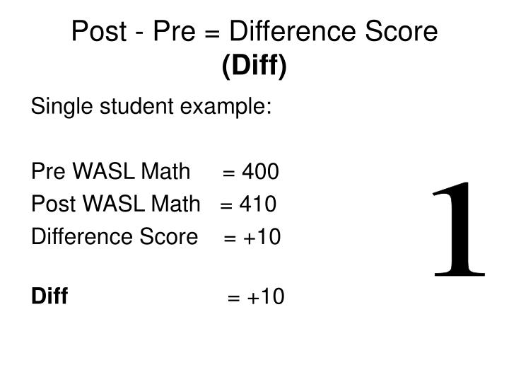 Post - Pre = Difference Score